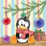Pinguino sotto l'albero Fotografia Stock