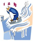Pinguino sull'pattini da ghiaccio Immagine Stock