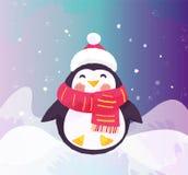 Pinguino sveglio in cappello e sciarpa Illustrazione di inverno Illustrazione Vettoriale