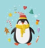 Pinguino sveglio in cappuccio tricottato a strisce Fotografia Stock