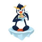 Pinguino sveglio con un piatto della tagliatella Fotografie Stock