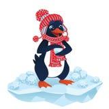 Pinguino sveglio del fumetto con le palle di neve Fotografia Stock