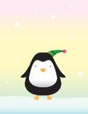 Pinguino sveglio su neve Fotografie Stock Libere da Diritti