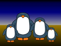 Pinguinpaare 2 Kinder Stockbild