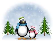 Pinguins 2 da filha da matriz Imagens de Stock Royalty Free