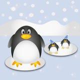 Pinguins bonitos do inverno Fotografia de Stock
