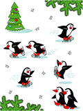 Pinguins de patinagem, personagens de banda desenhada Foto de Stock Royalty Free