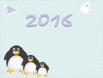 Pinguins do inverno para o fundo 2016 Fotos de Stock