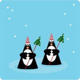 Pinguins do Natal ilustração royalty free