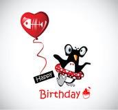 Pinguins engraçados do cartão do feliz aniversario Imagens de Stock