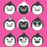 Pinguins engraçados dos ícones Fotografia de Stock