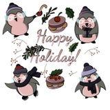 Pinguins engraçados dos desenhos animados bonitos no vetor ilustração do vetor