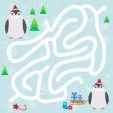 Pinguins engraçados no chapéu, nos flocos de neve e nos presentes vermelhos, jogo do labirinto do inverno do Natal para crianças  Foto de Stock Royalty Free