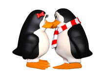 Pinguins felizes no amor Foto de Stock Royalty Free