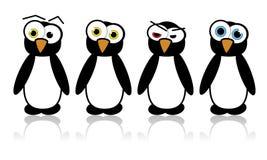Pinguins ilustrados do vetor Imagens de Stock
