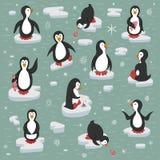 Pinguins nas banquisas de gelo ilustração stock