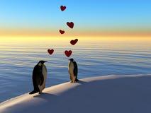 Pinguins no amor ilustração royalty free
