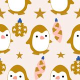 Pinguins and ornaments in a seamless pattern design