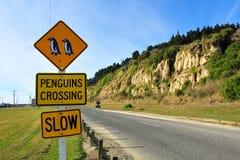 Pinguins que cruzam o sinal de estrada Fotografia de Stock
