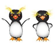 Pinguins reais dos desenhos animados com as sobrancelhas amarelas grandes indignantes e irritadas Imagem de Stock Royalty Free