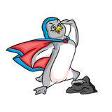 Pinguinsupermann im blauen Umhang stock abbildung