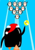 Pinguinweihnachtsbowlingspiel Lizenzfreies Stockbild
