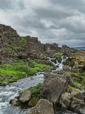 Pingvellir nationaal park IJsland augustus een prachtig landschap Stock Foto