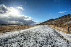 Pingvellir National Park. Gravel path and sun-star at Pingvellir National Park, a UNESCO World Heritage site in Iceland Royalty Free Stock Images