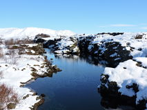 Pingvellir National Park, Iceland - clear natural blue water, reflection, snow. Stock Photos