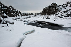 Pingvellir National Park, winter river in the rift of continental plates, Iceland Stock Photo