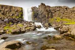 Pingvellir waterfall iceland stock images