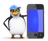 pingvin 3d bredvid en jätte- smartphone Arkivbilder