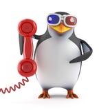 pingvin 3d i exponeringsglas som 3d pratar på telefonen Arkivbild