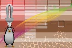 pingvin 3d med cflljus Arkivfoton