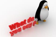 pingvin 3d med vad gör dig för att säga illustrationen Arkivfoto