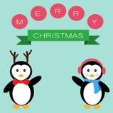 Pingvin för glad jul Fotografering för Bildbyråer