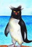 Pingvin för Ipmerator ` s Vattenfärgillustrationen, behandla som ett barn teckningen Arkivfoton