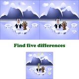 Pingvin för skillnader för vektorillustrationfynd fem royaltyfri illustrationer