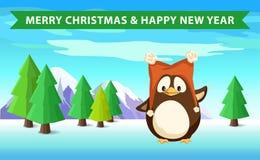 Pingvin i skog, jul och lyckligt nytt år stock illustrationer