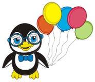 Pingvin med färgrika ballonger Arkivfoton