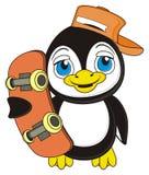 Pingvin med skateboarden Arkivfoto