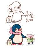 Pingvin och ett svin vektor illustrationer