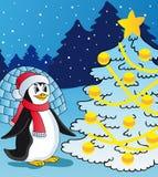 Pingvin och julträd Royaltyfria Foton