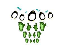 Pingvin och kaktus Arkivbilder