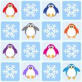 Pingvin och snowflakes Arkivbilder