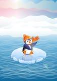 Pingvin på en isfloe (vektorn) Arkivbilder