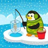 Pingvin på fiske stock illustrationer