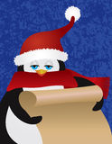 Pingvin Santa Holding Scroll Illustration stock illustrationer