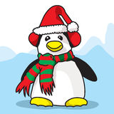 Pingvin som är klar för Cristmas tid arkivfoto