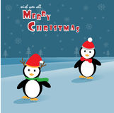 Pingvin som åker skridskor på isen Royaltyfri Foto